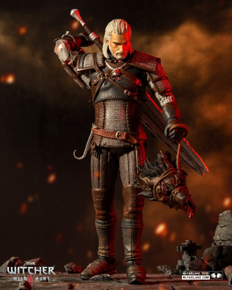 The Witcher 7 Eredin Breacc Glas And Geralt Of Rivia In Kaer Morhen Armor Figures From Mcfarlane Toys
