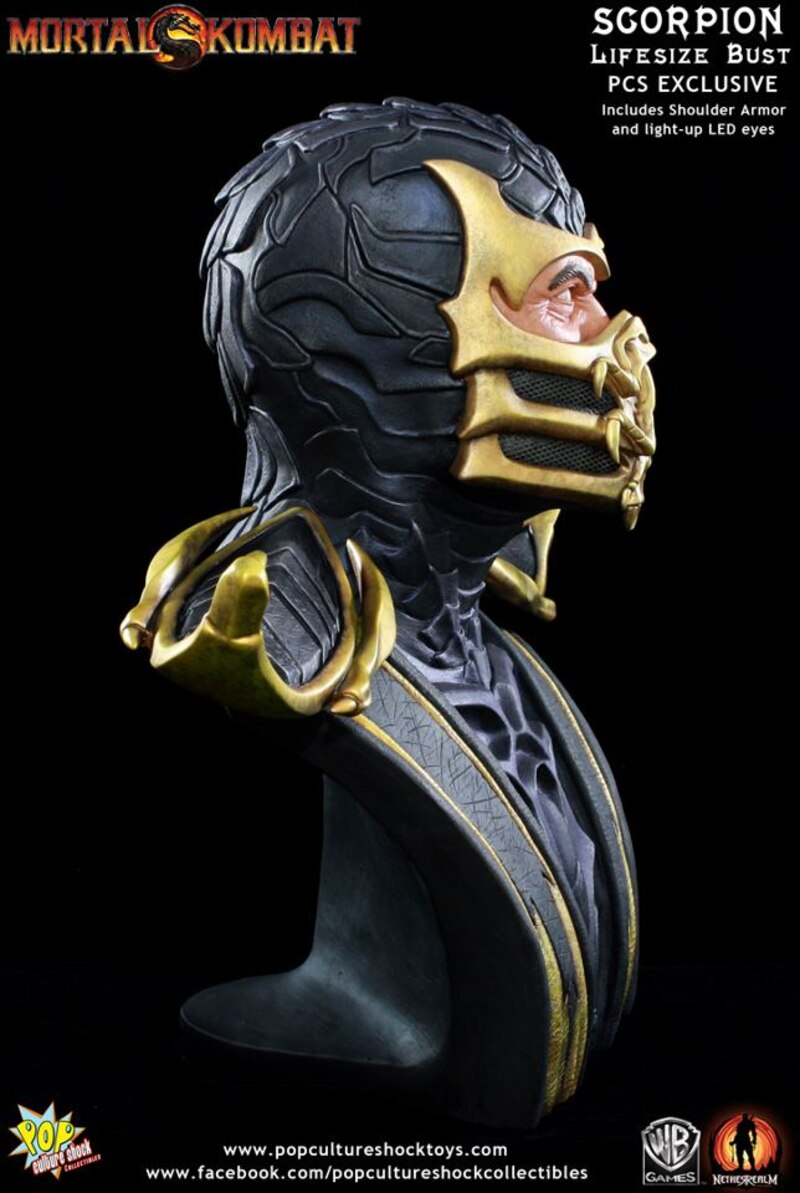 Life Size Mortal Kombat 9 Scorpion Bust-5532