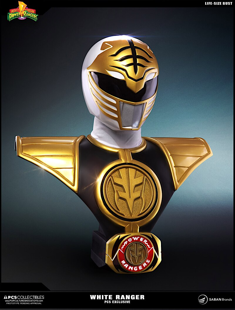 Mighty Morphin Power Rangers White Ranger Lifesize Bust From Pcs
